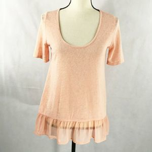 5/$25 Living Doll Pink Sheer Top Ruffle Size M